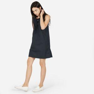Everlane The Sleeveless Dress in Midnight Poplin
